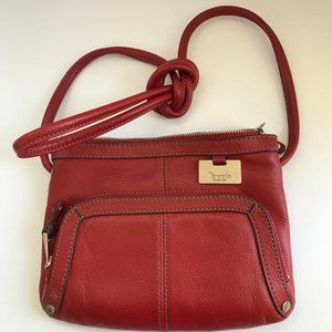 Tignanello Red Leather Crossbody Shoulder Purse